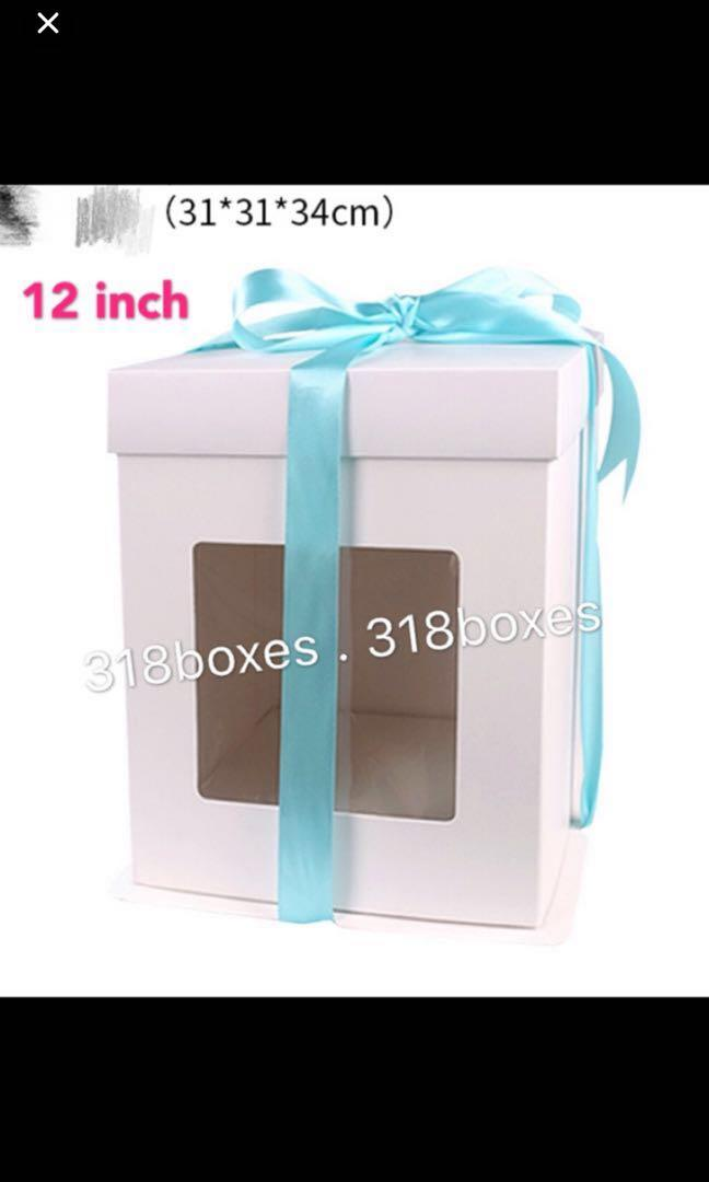 White tall cake box 2 tier 8 / 10 / 12 / 14 inch gift party