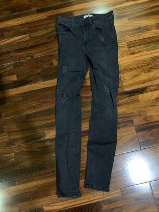 Zara Ripped jeans hitam washed