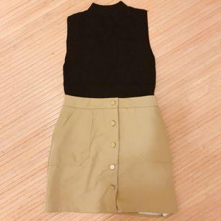 黑色微領上衣+薑黃色短裙