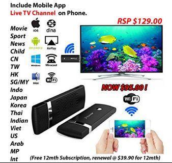 Wifi Display HDMI Dongle - Live TV & Movie handphone app