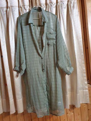 韓版💖綠色格子罩衫💝