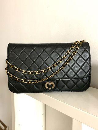 Authentic Mila Schon Flap GHW Bag Black quilted leather