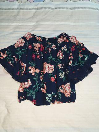 cotton on navy blue with floral prints off the shoulder with bell sleeve top
