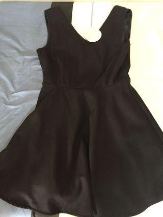 全新黑色服V字毛呢洋裝