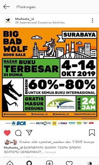 Jasa titip Jastip Big Bad Wolf BBW Surabaya