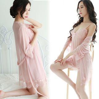 (5 Colors) Sexy Lingerie Set Sleep Wear Lace See through Baby Doll Night Wear Pyjamas Pajamas Robe Set