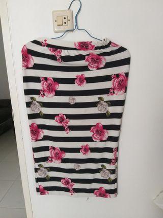 Flower midi skirt stripe