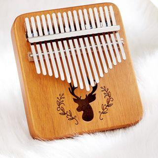 現貨【送禮包】迷你款相思木 拇指琴17音 卡淋巴琴 kalimba 手指琴 全單板實木 聖誕節表演 馴鹿手指琴 交換禮物