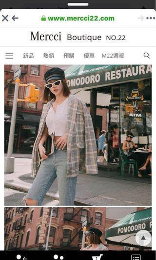 轉賣mercci22漢娜妞Hannah自創品牌西裝格紋長版外套