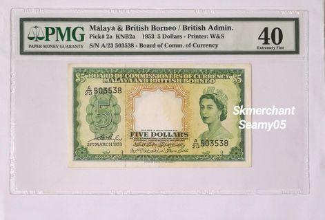 1953 Malaya /British Administration 5 Dollars PMG40