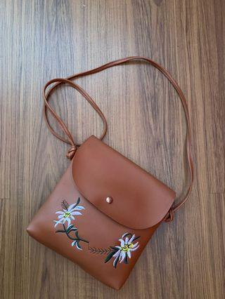 Flower Embroidery sling bag