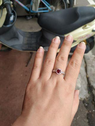 天然紅寶石戒指純銀戒指