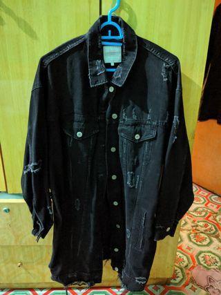 Zara Black Distressed Denim Jacket