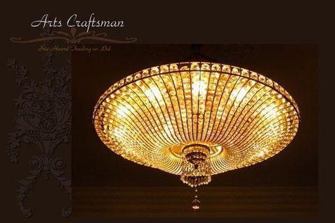 皇家k金 ART DECO年代 法國奢華大水晶燈 裝置藝術品