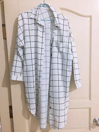 長版格子襯衫❤️