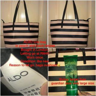 Aldo tote bag in peach and black stripes