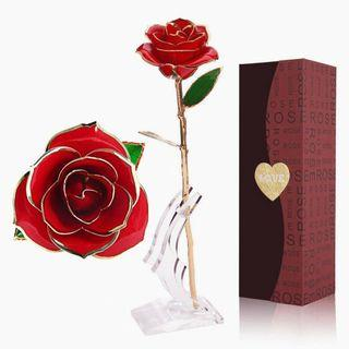 2223) Red Gold Plated Rose 24k Gold Dipped Rose