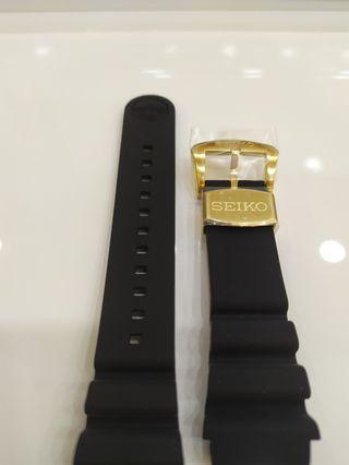 Brand New Seiko Prospex Silicone Divers Strap 22mm on Gold Buckle