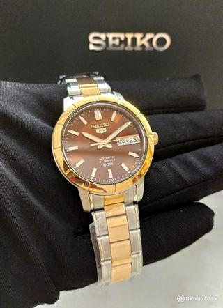 * FREE DELIVERY * Brand New 100% Authentic Seiko 5 Lady's Rose Gold & Brown Dial Automatic Dress Watch SNK890K SNK890