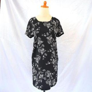 m&s Black Flower Dress