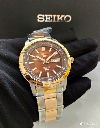 * FREE DELIVERY * Brand New 100% Authentic Brand New 10% Authentic Seiko 5 Men's Automatic Watch Rose Gold with Brown Dial SNKN60K SNKN60