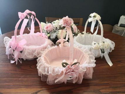 Flower girl basket (white and pink colour only)