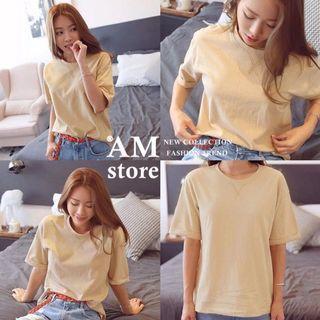 全新現貨❤️大尺碼 基礎單色棉質寬鬆圓領短袖T恤-淺卡其3XL