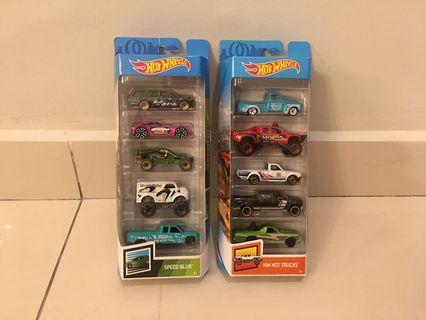 Hot Wheels 5-packs Lot of 2 - Speed Blur & HW Hot Trucks