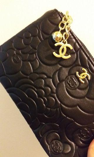 Chanel Camellia Wristlet Black Color