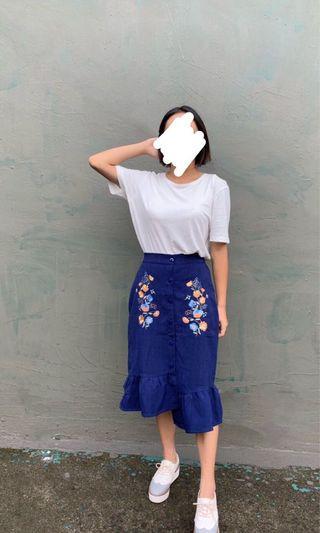 Mercci22 藍色刺繡長裙