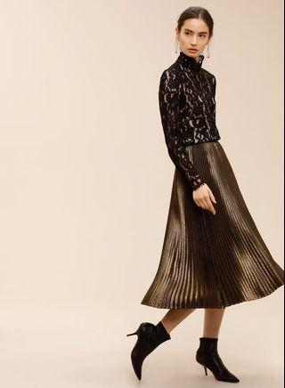 Aritzia Babaton Jude Skirt - Metallic Gold - Size S