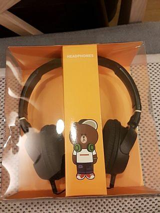line friends 熊大 耳罩 耳機 有線
