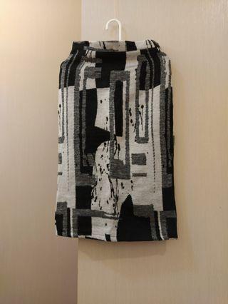 藝術風毛呢窄裙