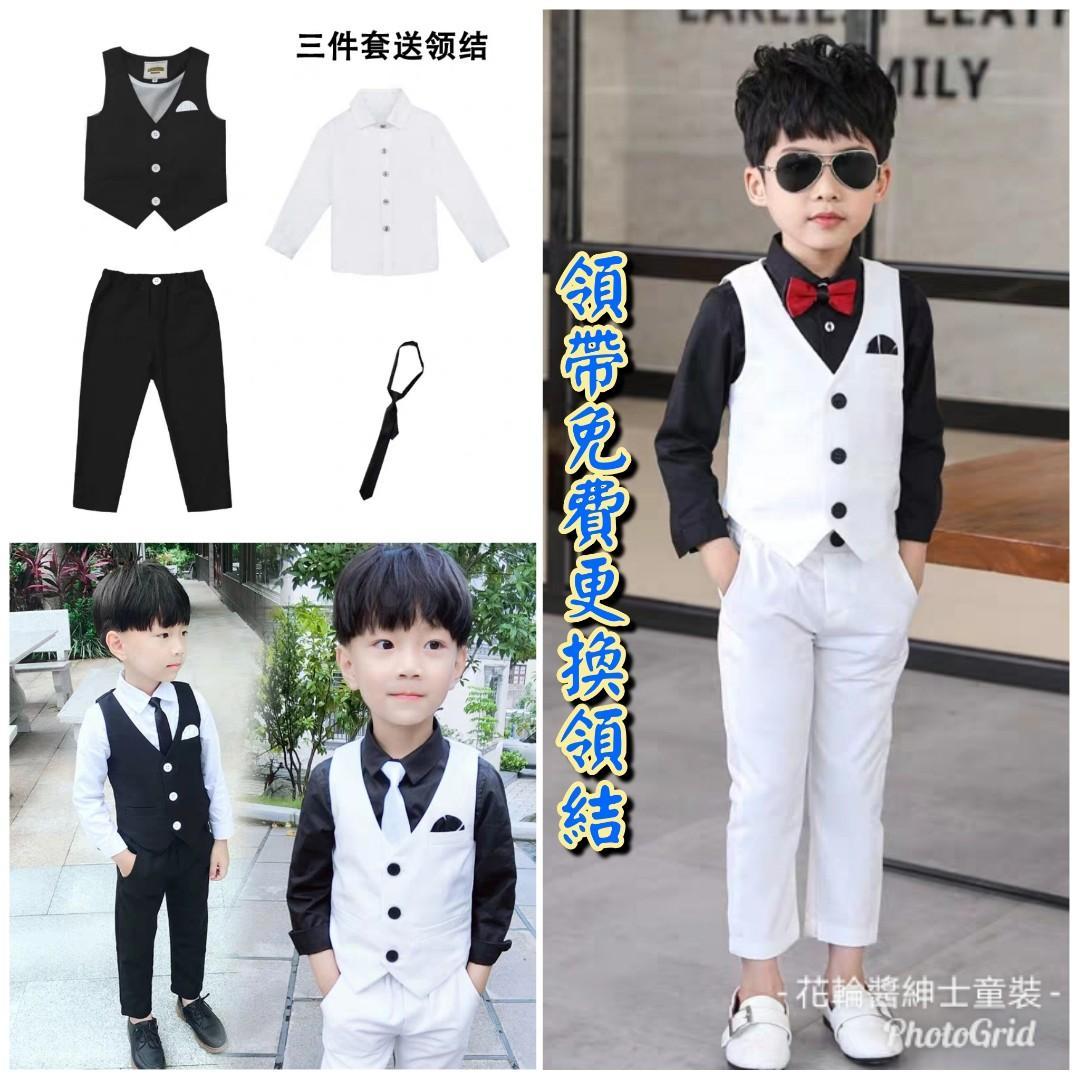 兒童秋款禮服三件套男童花童男孩表演演出服鋼琴套裝西服小主持人