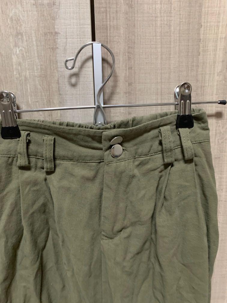 軍綠色九分工作褲
