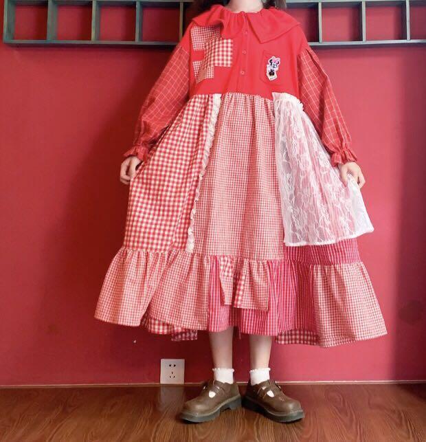 《超強秋裝新品》日系米老鼠格子蕾絲裙
