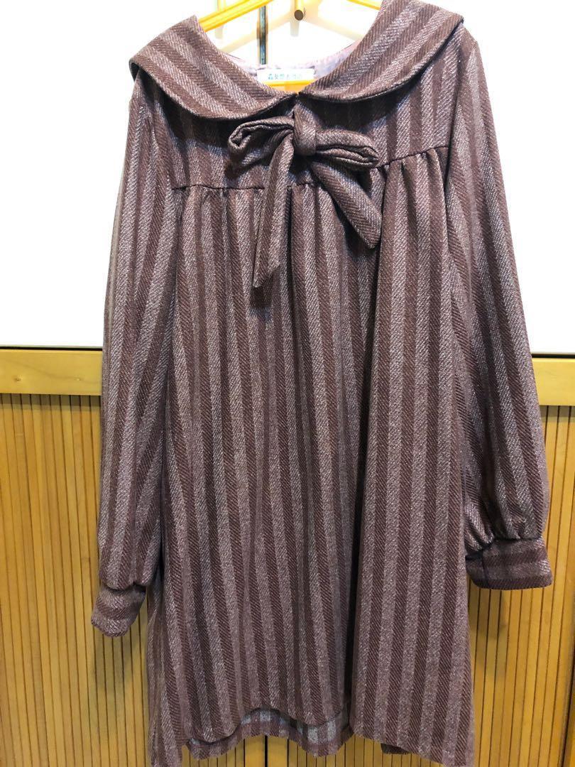 森女想去海邊 可愛海軍風加厚連衣裙 日系洋裝