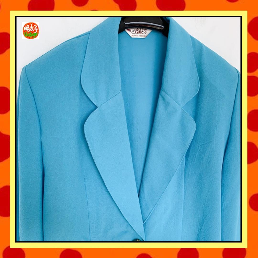 二手 亮藍色 輕薄 飄逸 寬鬆 長袖 外套 明太子 B919