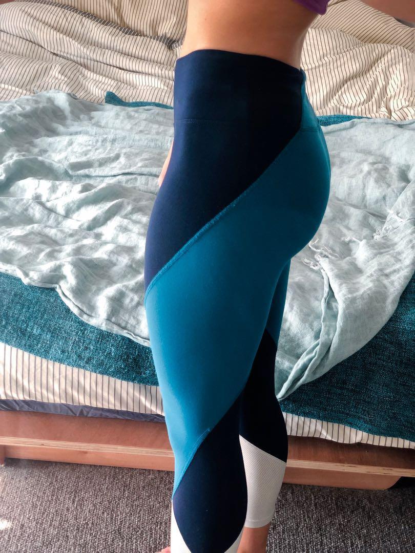 ⅞ Lorna Jane tights with three shades of blue. Internal waist band.