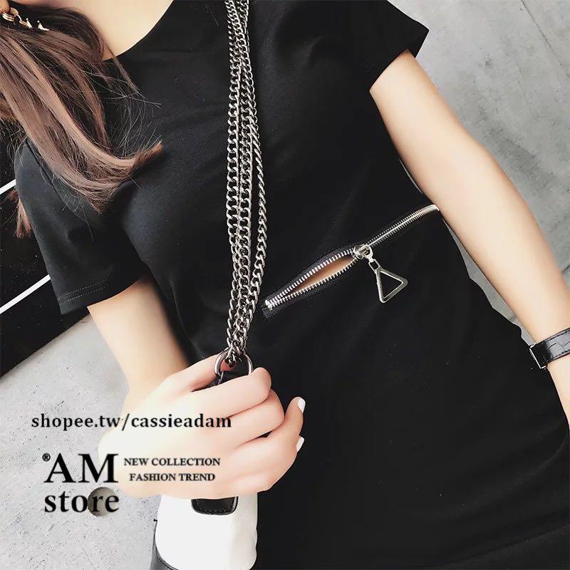全新現貨❤️小性感 腰間拉鍊圓領短袖彈性雪紡洋裝-黑色S號