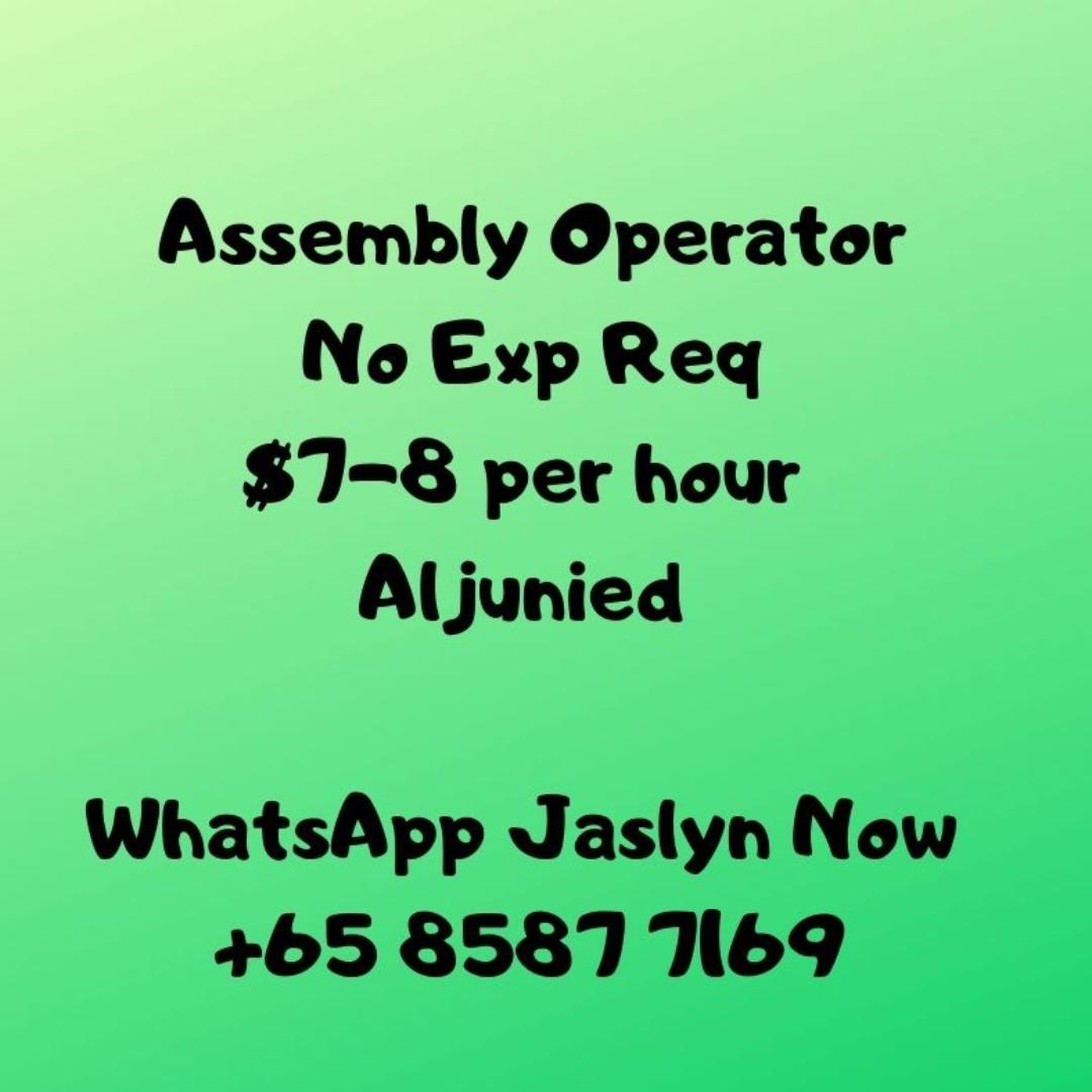 Assembly Operator ($7-8 /hr / East /3mths contract to perm)