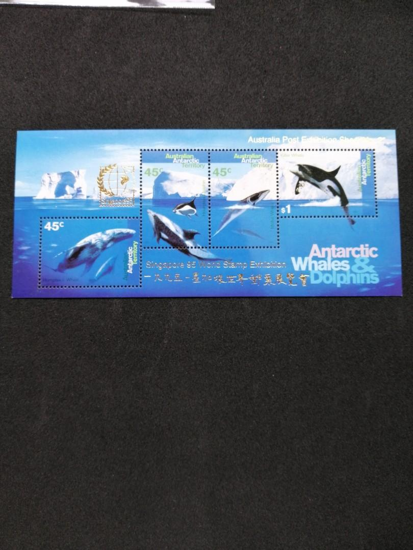 Australia 1995 Singapore World stamp exhibition whales and dolphins mint M/S
