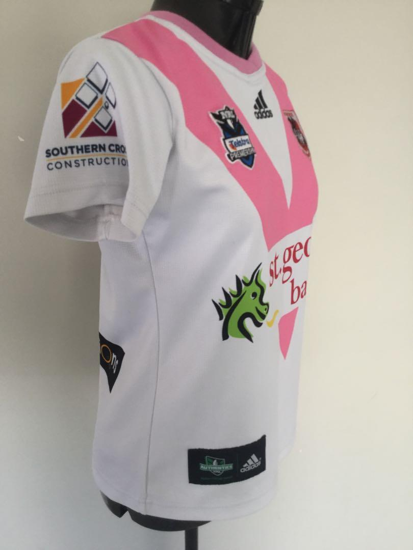 Authentic NRL St George Jersey Pink & White Made In Australia Size 10