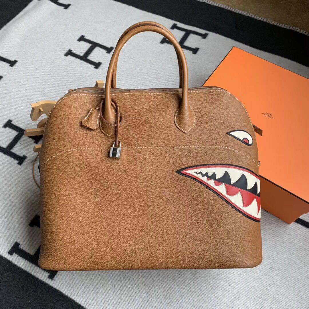 Authentic Pre-loved Hermès Limited Edition Runway Bolide 40 Shark Gold Palladium Hardware