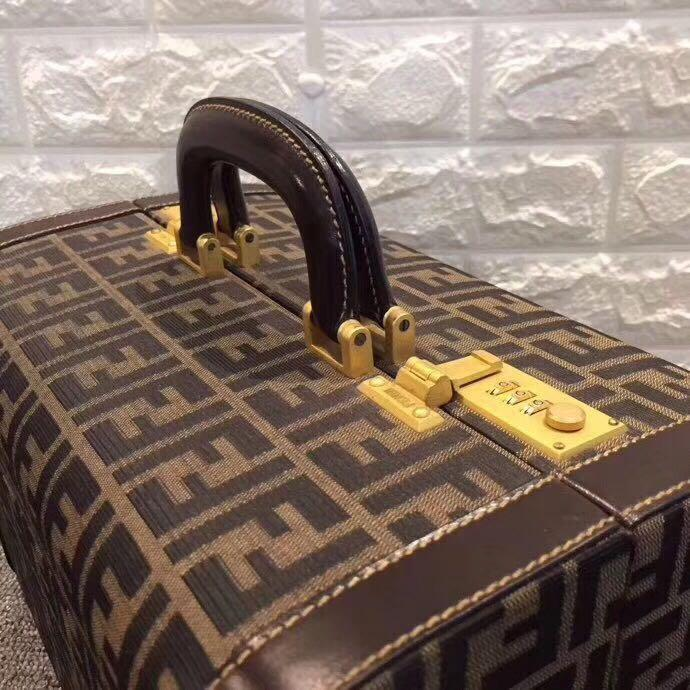 Authentic Vintage Fendi Zucca Make Up Box with Handle