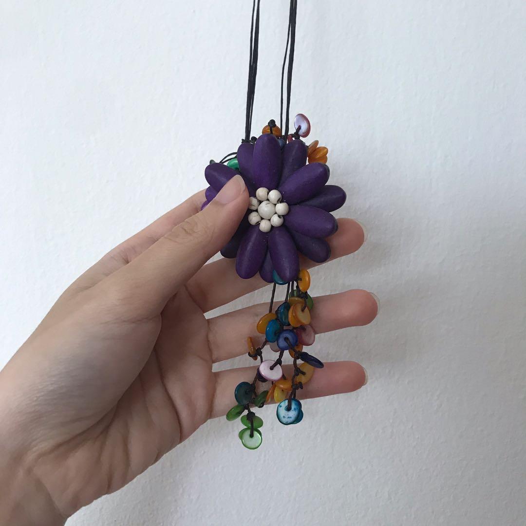 beaded flower boho hanging decor / necklace