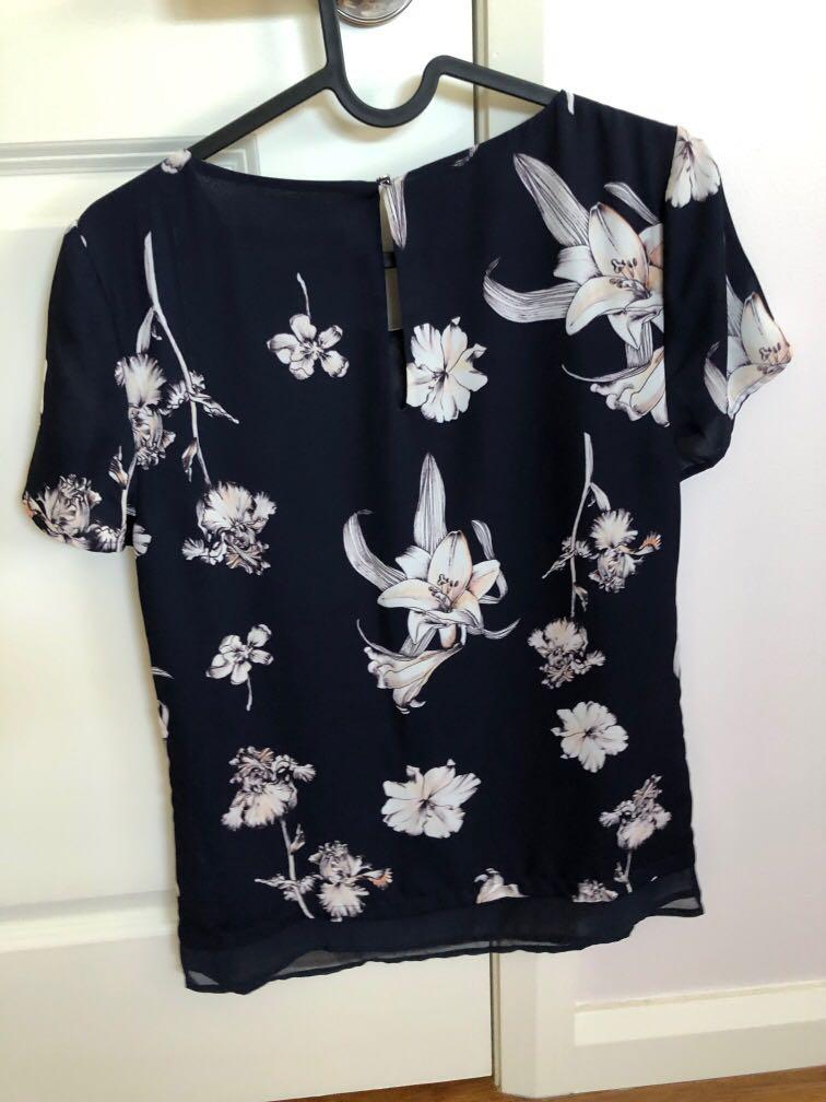 Blue and white floral work top blouse from Portman's