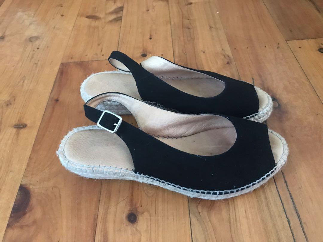 Blue illusions women's black suede wedge heel sling back peep toe espadrilles size 38