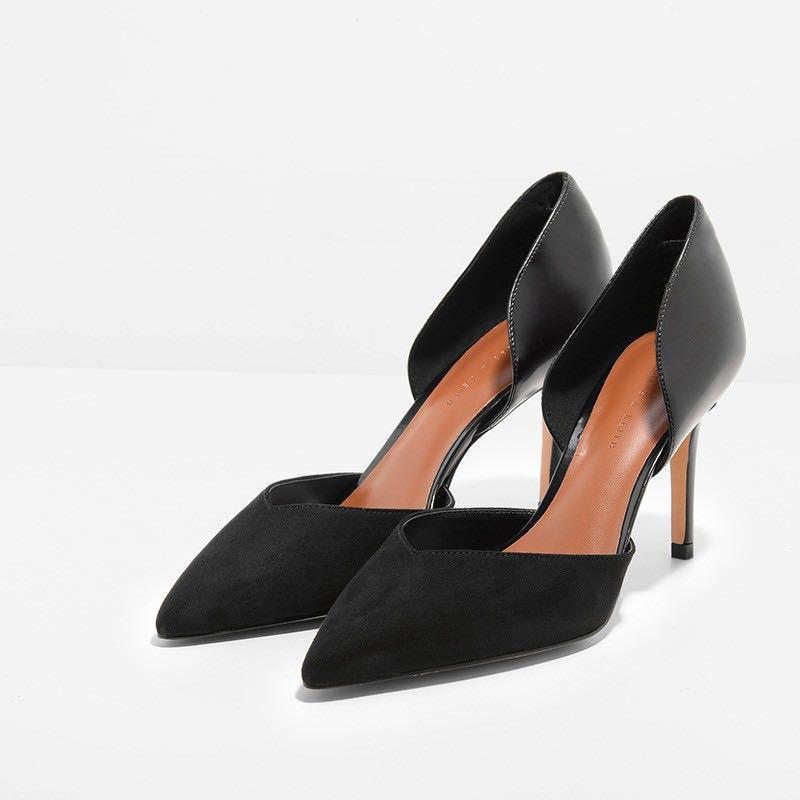 Black D'Orsay Kitten Heel Pumps   CHARLES & KEITH NO