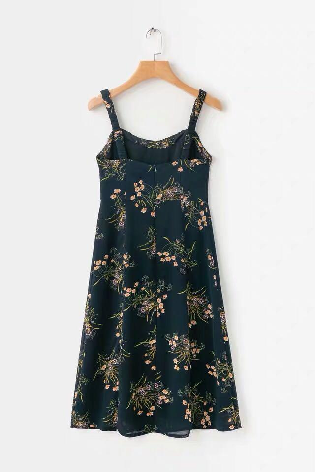 BNWT Navy Floral Midi Dress with Slit